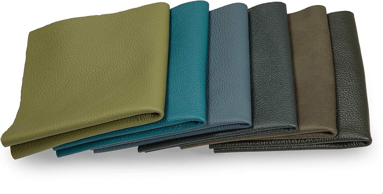 Recortes de cuero - restos de cuero verde, restos de cuero, tamaños grandes, alta calidad, ideal para bolsos, zapatos, reparaciones, decoraciones, manualidades, 1 kg, tamaño A5
