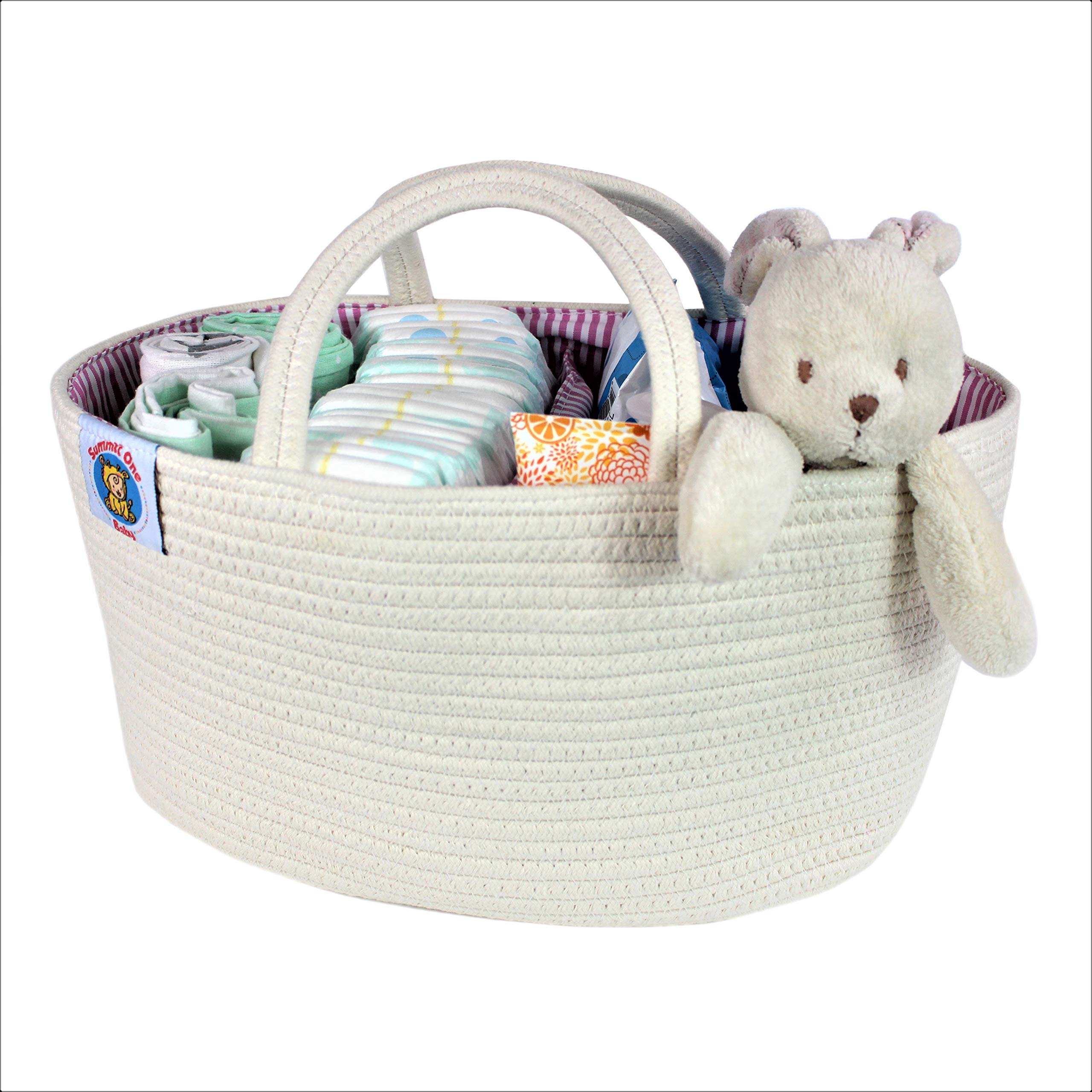 Summit One Baby Extra Large Diaper Caddy Organizer Basket (17 x 10 x 8 Inches) Spacious and Sturdy Woven Cotton Rope Diaper Storage with Handles - Includes Diaper Changing Pad