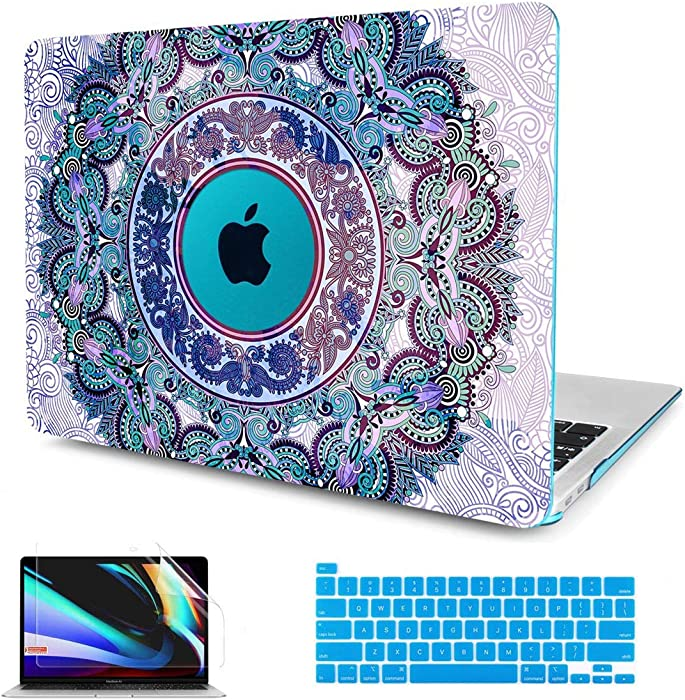 CISSOOK Hard Shell Case for MacBook Pro 13 Inch 2021 2020 Release A2338 M1 A2289 A2251,Plastic Mandala Blue Cover with Keyboard Cover and Screen Protector for Mac Pro 13 2020 with Touch Bar Touch ID