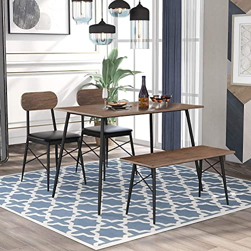 pocatoy Modern Dining Table 4-Piece 43.2in Wooden Modern Dining Easy to Assemble The Table Set