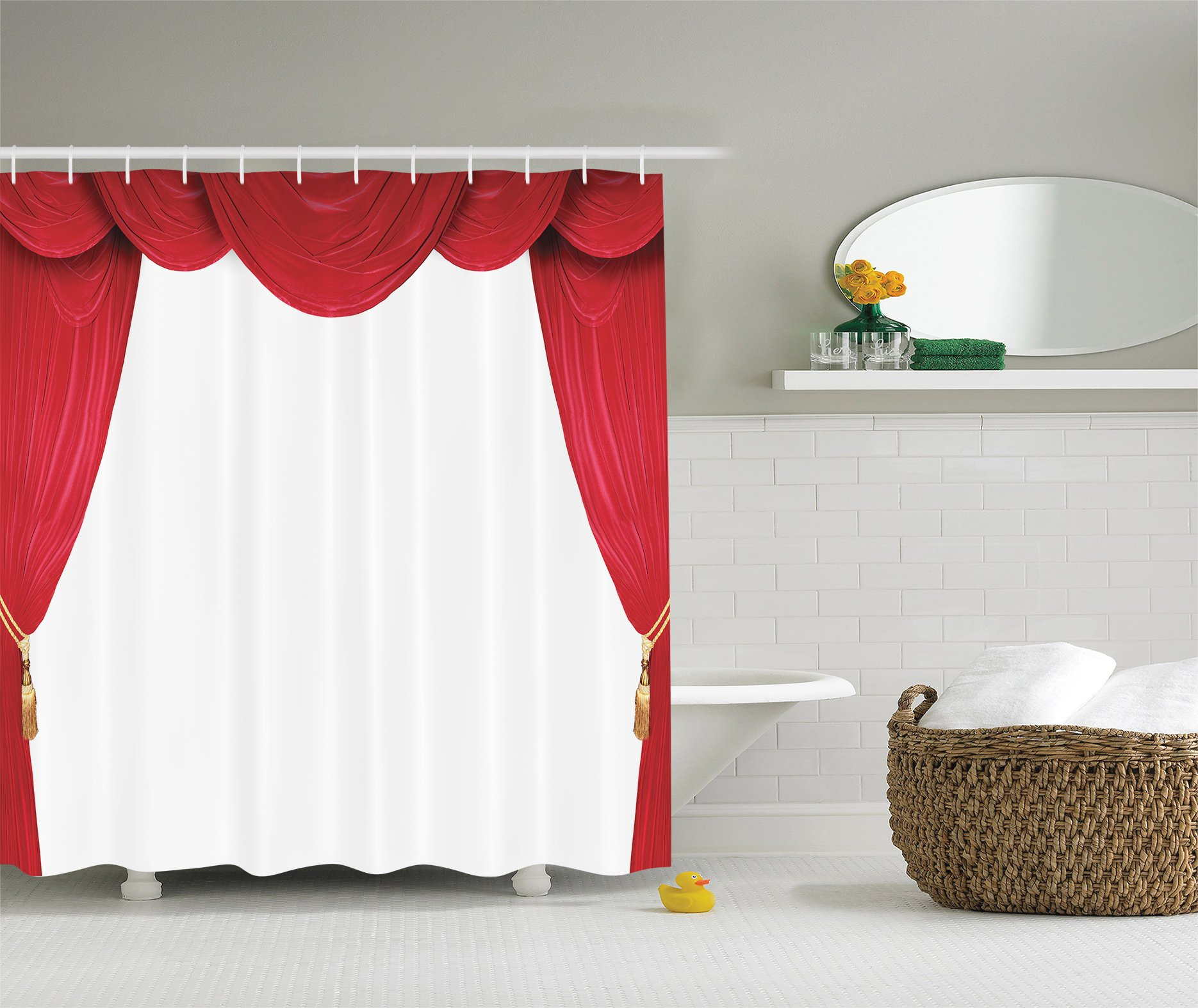 Ambesonne Curtain Classical Theater Operahouse Movie Lover Stage Vintage Decor Digital Print Polyester Fabric Crimson White Shower Curtain Red White