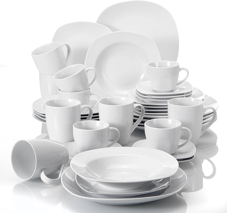 serie Elisa 36 piezas Juegos de Vajillas de Porcelana 6 mugs 6 Tazas de cafe 6 Platillos 6 Plato plano 6 Plato de Postre 6 Platos de Sopa para Vajillas para 6 Personas MALACASA
