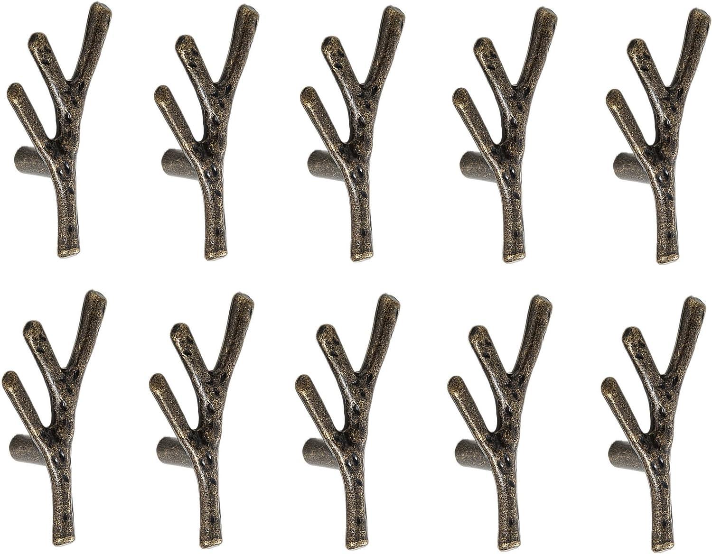 un Seul Trou, Noir Mat Lot de 10 Poign/ée de Tiroir Forme de Branche Tirette Bouton de Porte en Alliage de Zinc D/écoration pour Cabinet Placard Armoire