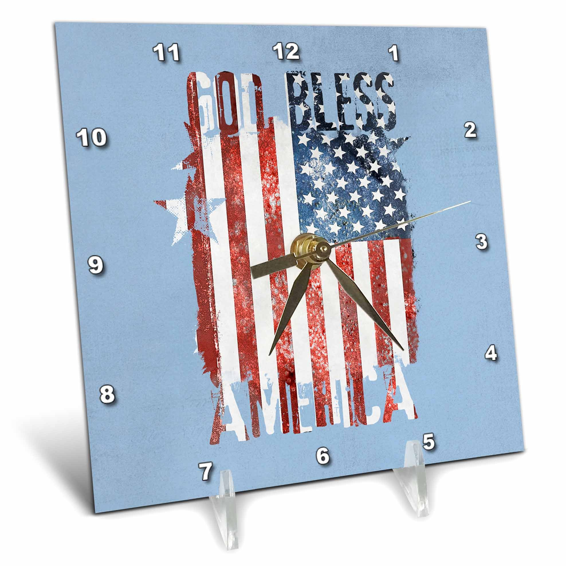 3dRose Andrea Haase Patriotic Art - God Bless America Patriotic 4th July Distressed Flag On Blue - 6x6 Desk Clock (dc_282616_1)