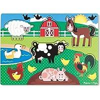 Melissa & Doug - 19050 - Peg Puzzle in Legno - Animali da Fattoria
