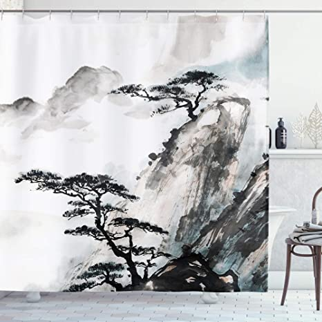 Waterproof Fabric Chinese Ink Painting Landscape Shower Curtain for Bathroom