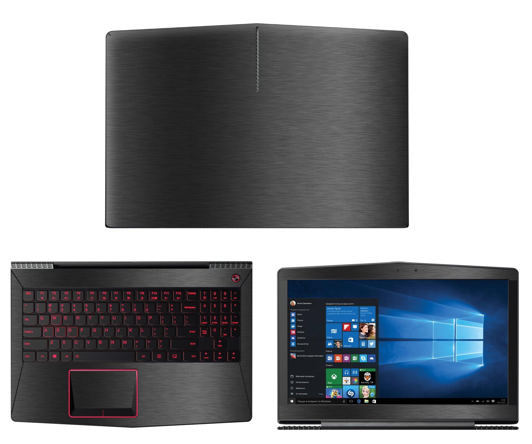 Decalrus - Protective decal for Lenovo LEGION Y520 (15.6'' Screen) Laptop Dark Grey Texture Brushed Aluminum skin case cover wrap BAlenovoLegionY520Dark Grey