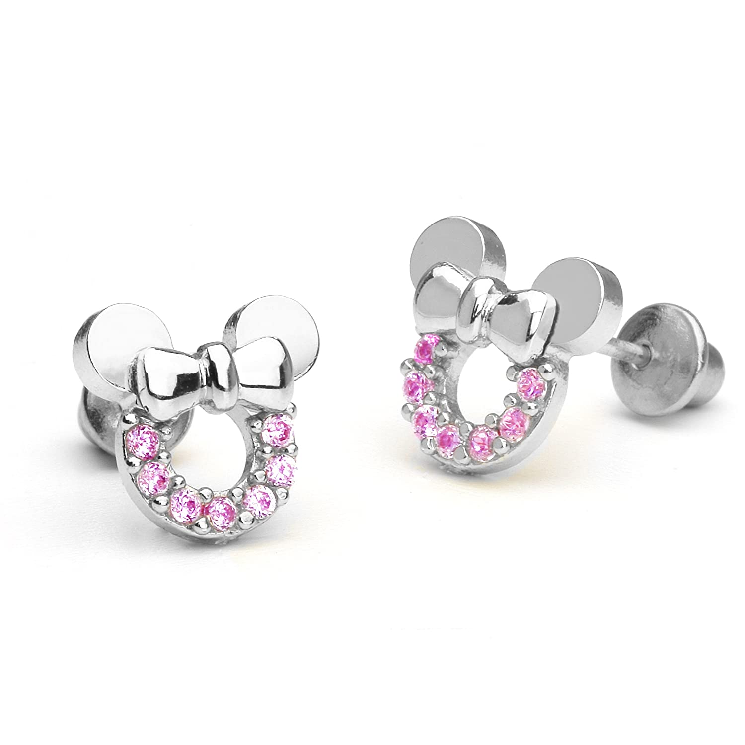 Amazon: Sterling Silver Rhodium Plated Pink Mouse Cubic Zirconia  Screwback Baby Girls Earrings: Stud Earrings: Jewelry