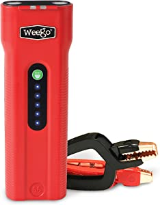 WEEGO 66 Jump Starting Power Pack2500 Peak Amps 660 Cranking Amps High Performance Lithium Ion Jump Starter Quick Charges Phones 600 Lumen LED Flashlight Water Resistant