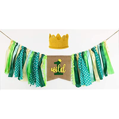 Wild One Banner, Wild One High Chair Banner with Crown, 1st Birthday Fabric Jungle Safari Theme Party Decorations for Boy Girl: Toys & Games