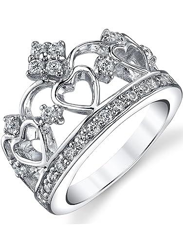 Ultimate Metals Co. ® 925 Sterling Silver Cubic Zirconia Princess Crown Tiara CZ Band Ring yVgzZnXKs