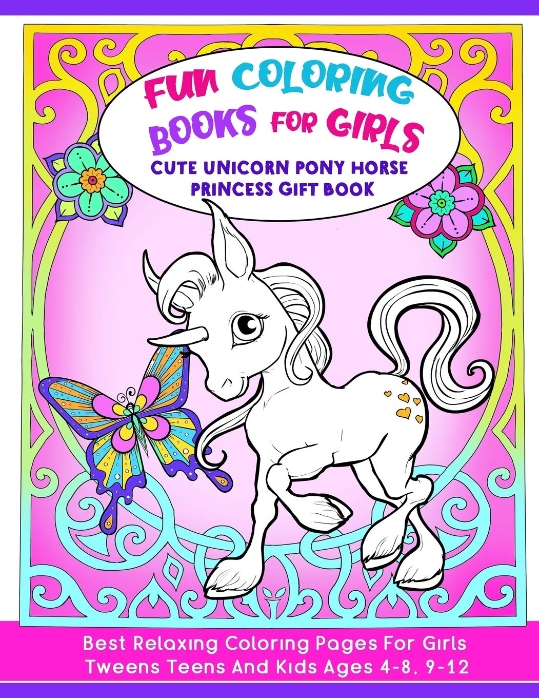 Fun Coloring Book For Girls Cute Unicorn Pony Horse Princess Gift
