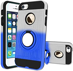 iPhone 5S Case, iPhone SE Phone Case with HD Screen Protector,Atump 360 Degree Rotating Ring Holder Kickstand Bracket Cover Phone Case for iPhone 5 Sliver/Blue