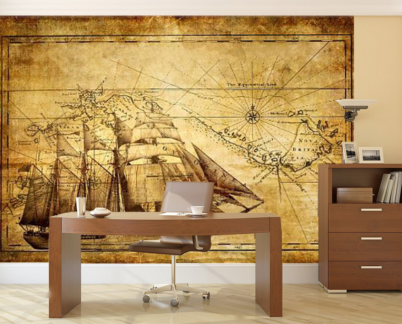 Startonight Mural Wall Art Photo Decor Old Map Large 8-feet 4-inch ...
