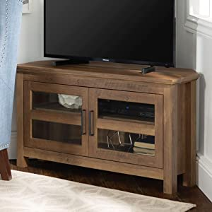 "WE Furniture Modern Farmhouse Wood Corner Stand for TV's up to 48"" Living Room Storage, 44"", Brown Reclaimed Barnwood"