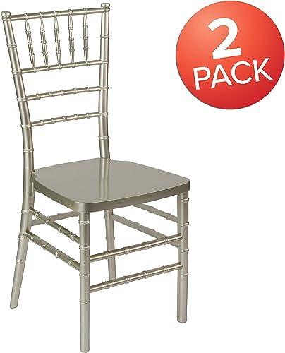 Flash Furniture 2 Pack HERCULES PREMIUM Series Champagne Resin Stacking Chiavari Chair