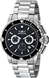 Invicta Pro Diver Men's Quartz Watch with Black Dial  Chronograph display on Black Stainless Steel Bracelet 15398