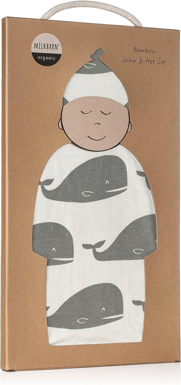 Milkbarn Organic Newborn Gown /& Hat Set 0-3 Months, Grey Whale