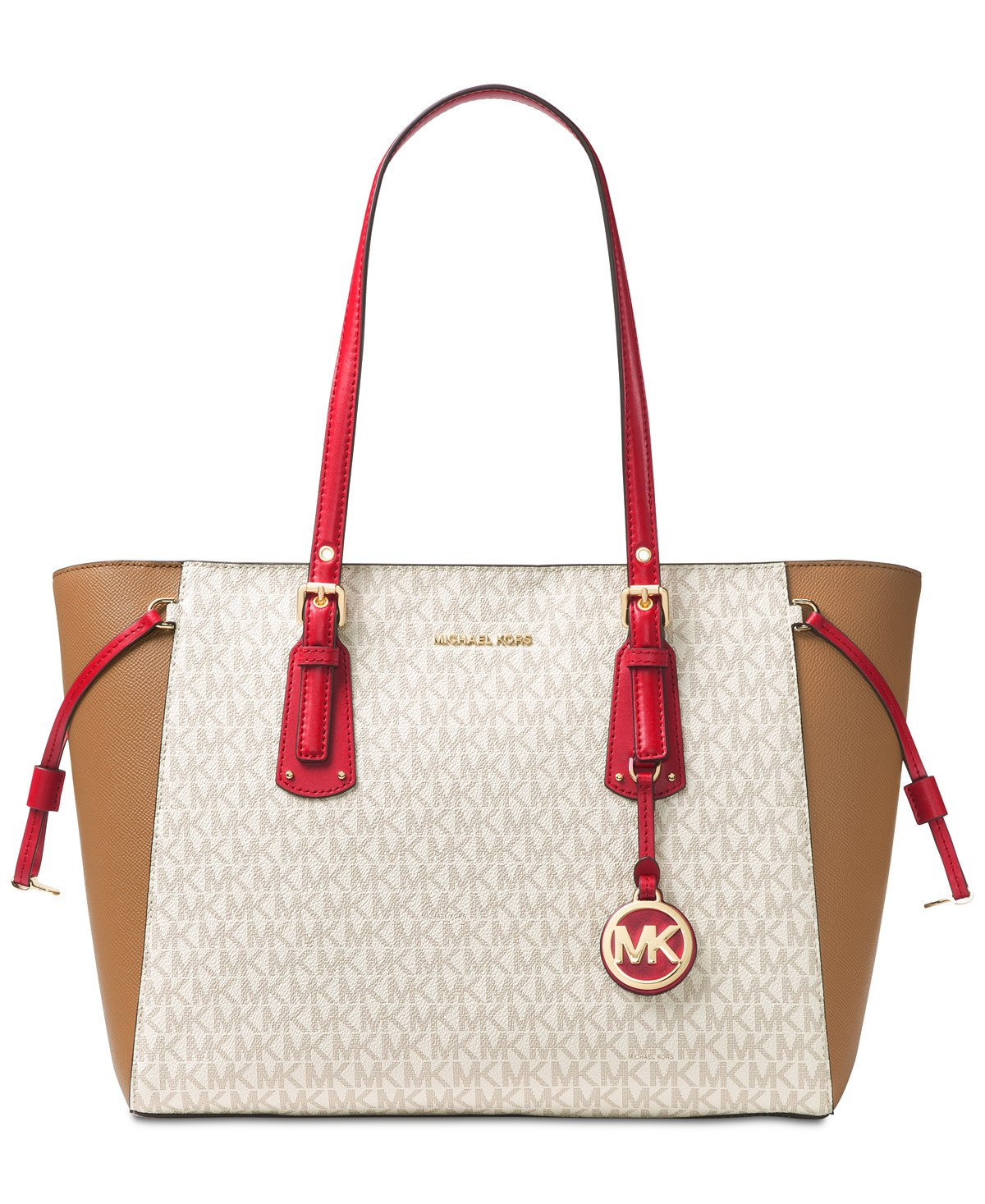MICHAEL Michael Kors Voyager Multi-Function Top Zip Medium Tote, Vanilla/Acorn/Bright Red