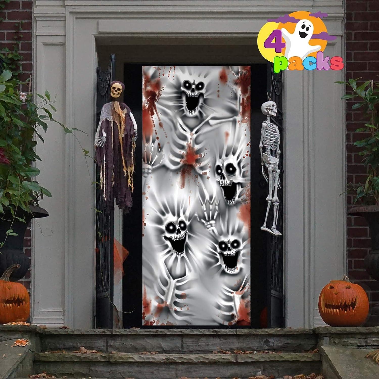 """JOYIN 4 Pcs 3D Design Scary Skeleton Door Cover 30""""x 72"""" for Halloween Skeleton Door, Window and Wall Cover Indoor Outdoor Decoration"""