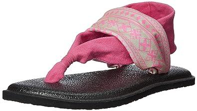 0d11a708eb9415 Sanuk Kids Girls  Lil Yoga Sling 2 Prints Sandal Abbot Kinney tan neon Pink