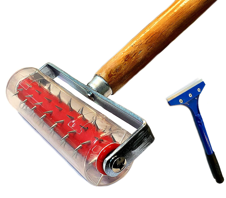 Perforateur de papier peint - Rouleau à picots pour papier peint 150 x 500 mm Rouleau hérisson, Rouleau Spécial Pour Tapissier - Avec poignée en bois + racloir à peinture 10 x 30 cm JBR-Service