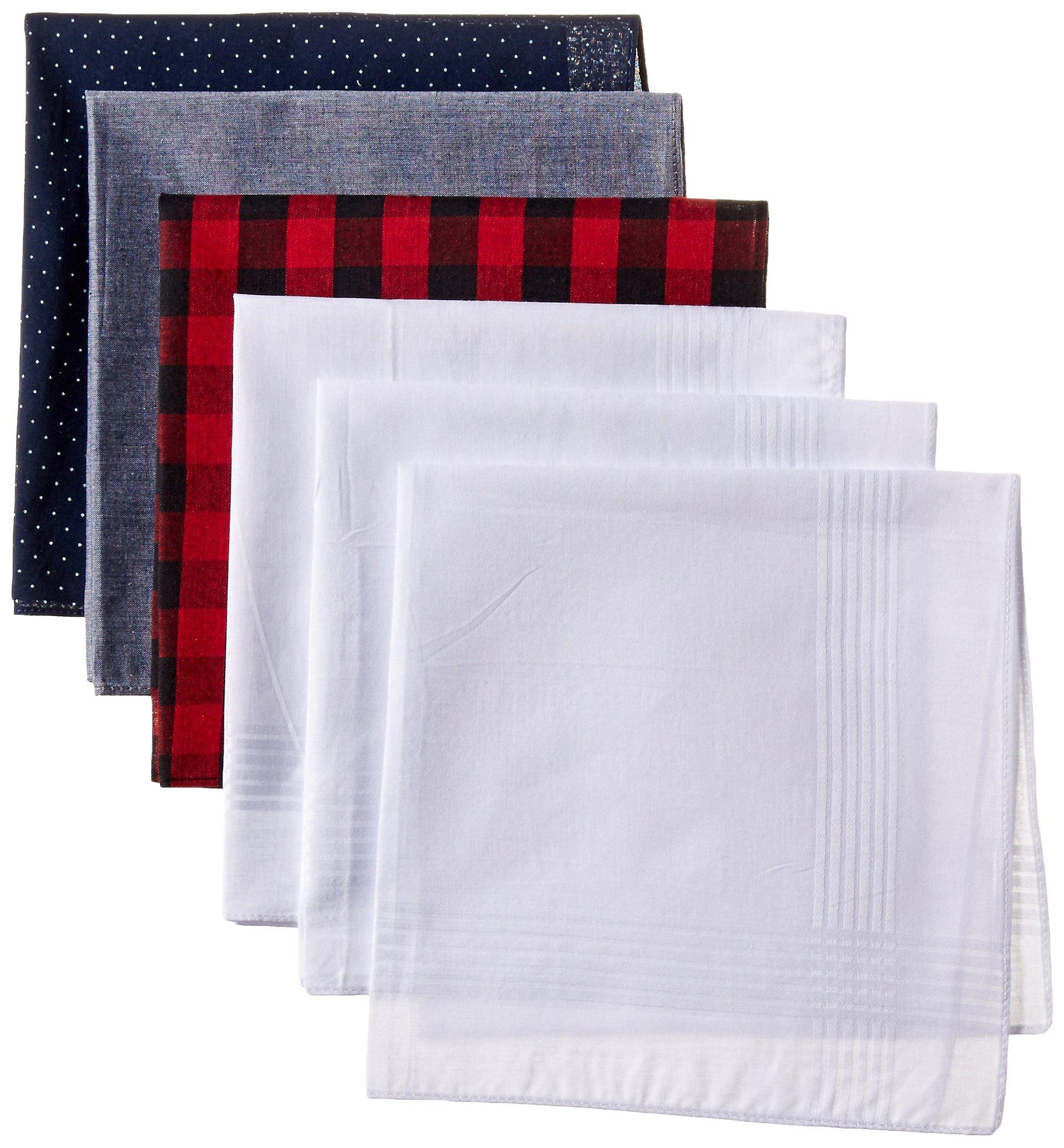 Levi's Men's 100% Cotton Hankerchiefs - Pack Of 6, blue/white, One Size