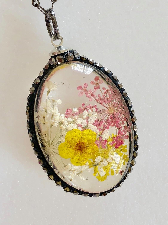 1PC Resin Flower Necklace Oval Flower Jewelry Real Flower Necklace Pressed Flowe terrarium jewelry terrarium necklace bride wedding gift