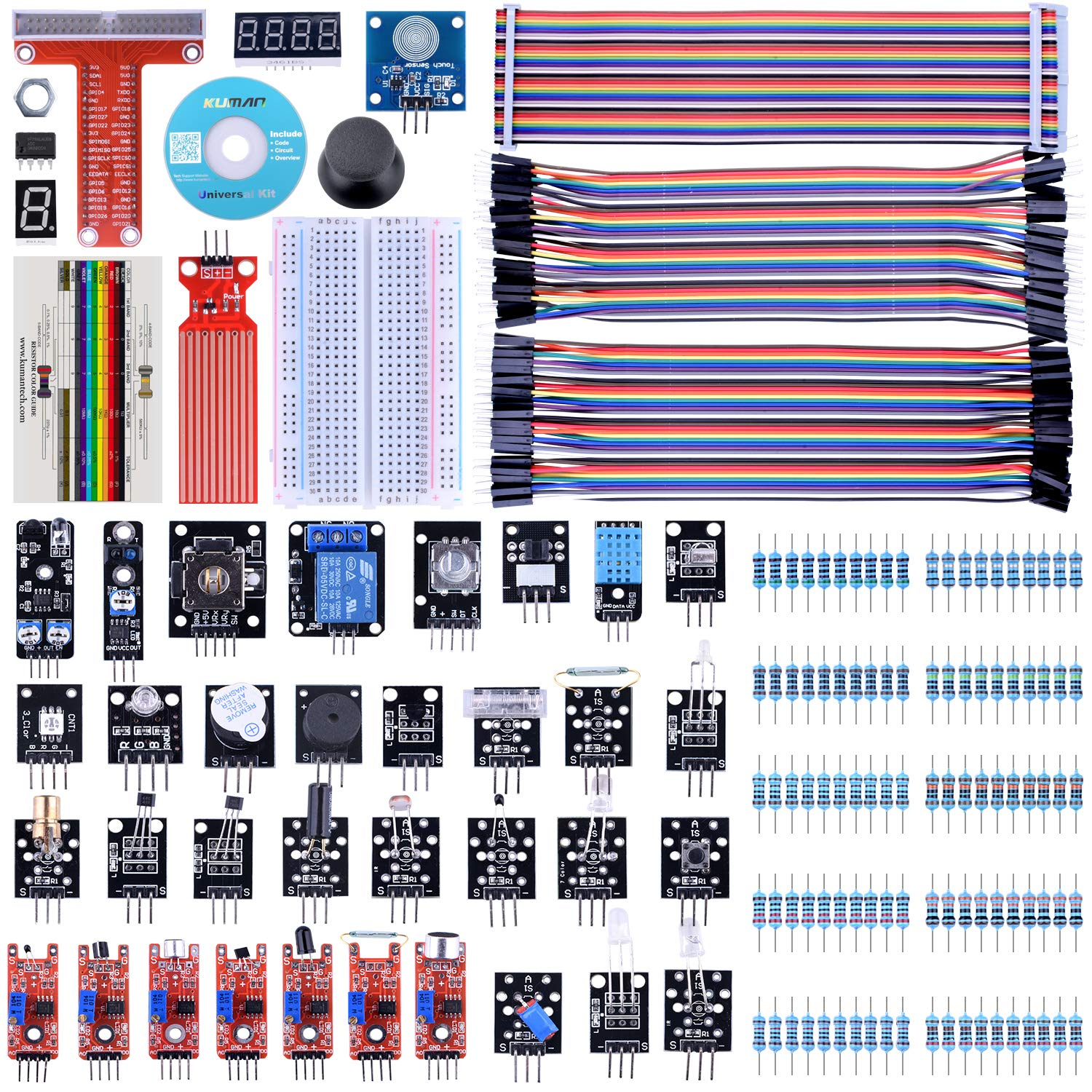 Kuman 38 Modules Sensor Kit For Raspberry Pi Rpi 3 2 Relay Switch Hs Code Model B A 44 Components Kits K47 Computers Accessories