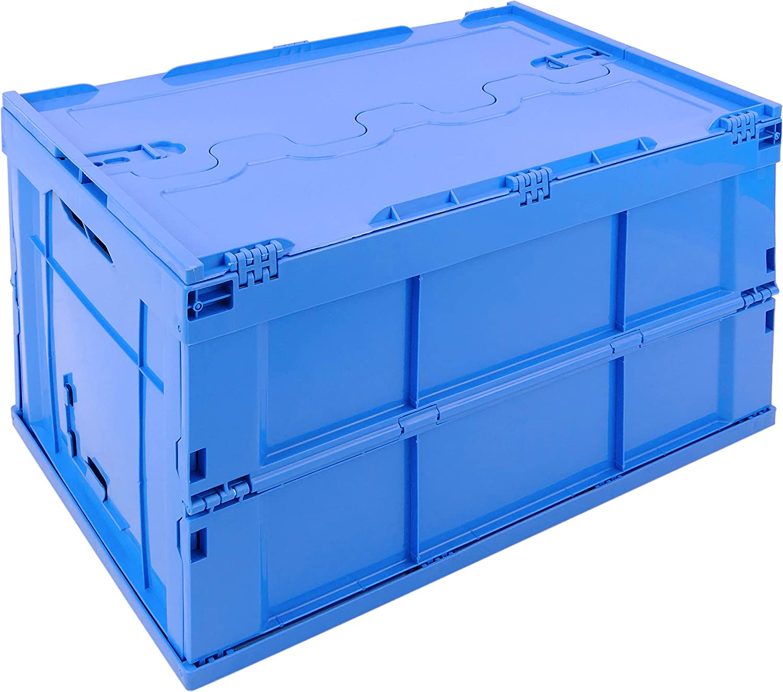 PrimeMatik - Caja de plástico EuroBox plegable y apilable. Contenedor azul con tapa 60x40x32cm 65L (KA051)