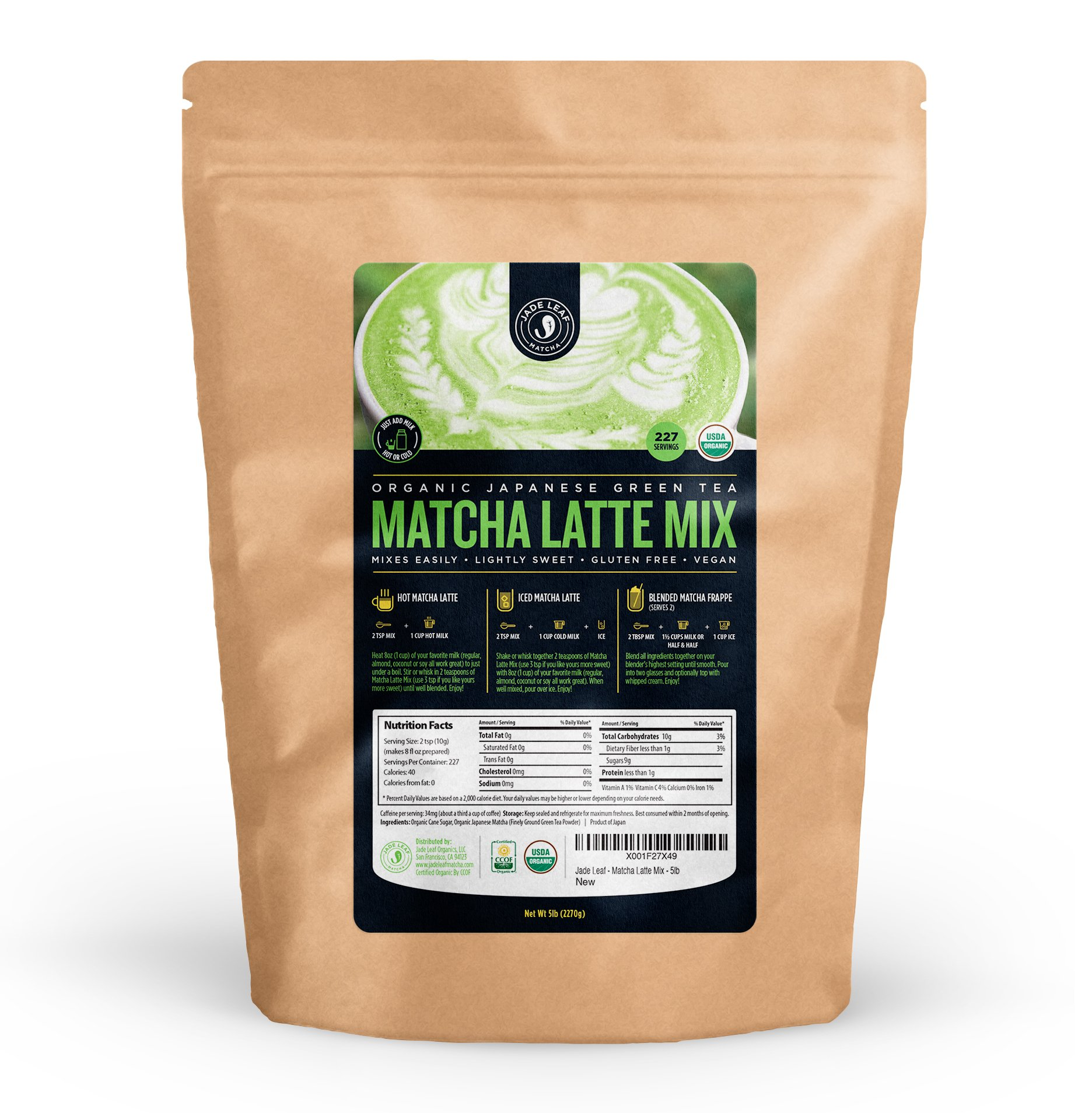 Jade Leaf - Organic Japanese Matcha Latte Mix - Cafe Style Sweetened Blend - Sweet Matcha Green Tea Powder [5lb Bulk Size] by Jade Leaf Matcha