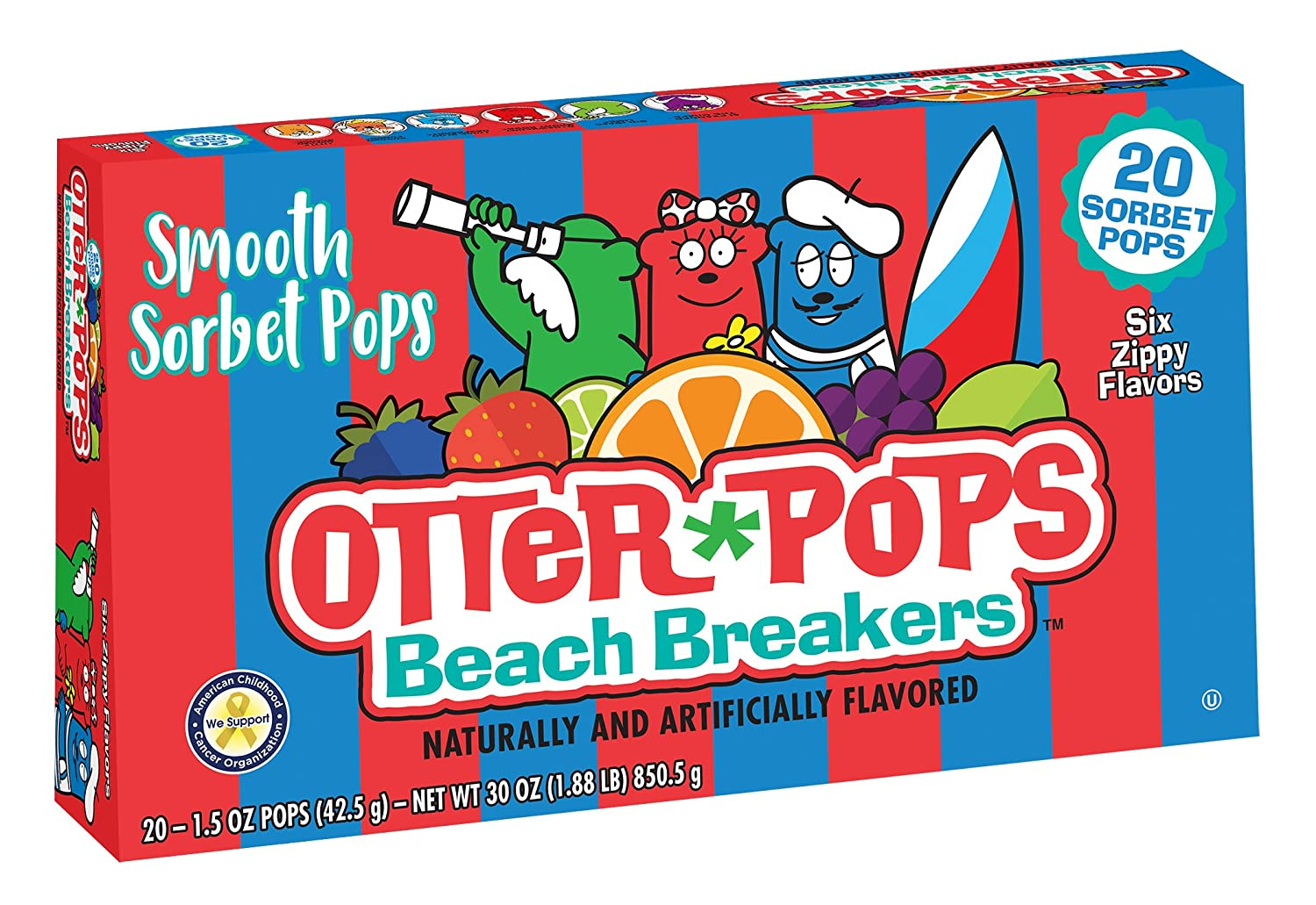 Otter Pops, Beach Breakers Smooth Sorbet Freezer Pops, Variety Pack (12 Boxes, 20 - 1.5 oz pops per box)