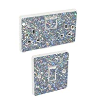 Silver Sequin Light Switch & Double Socket Sticker Vinyl / Skin cover