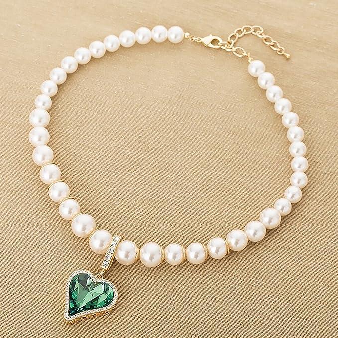 148506bc35c0 Collar de Perlas Moda Princesa Accesorios de Vestir Aleación Melocotón  Corazón Colgante Suéter Cadena Collar Corto