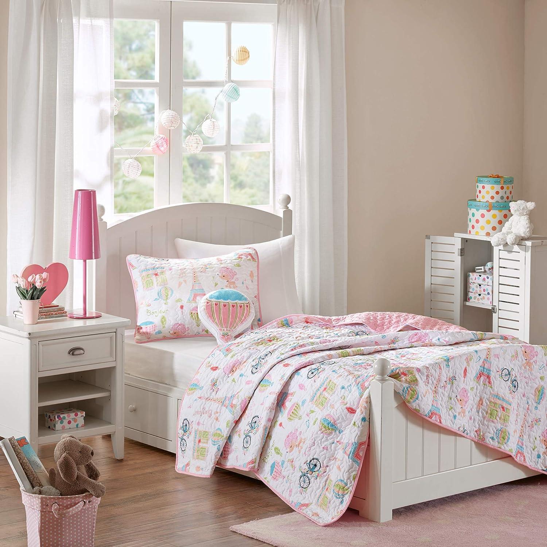 Mi Zone Kids Bonjour Full/Queen Bedding for Girls Quilt Set - Pink, French Paris – 4 Piece Kids Girls Quilts – Ultra Soft Microfiber Quilt Sets Coverlet