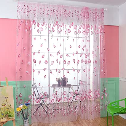Amazoncom Voile Tulle Curtain Draperies Fresh Lovely Pink Flowers