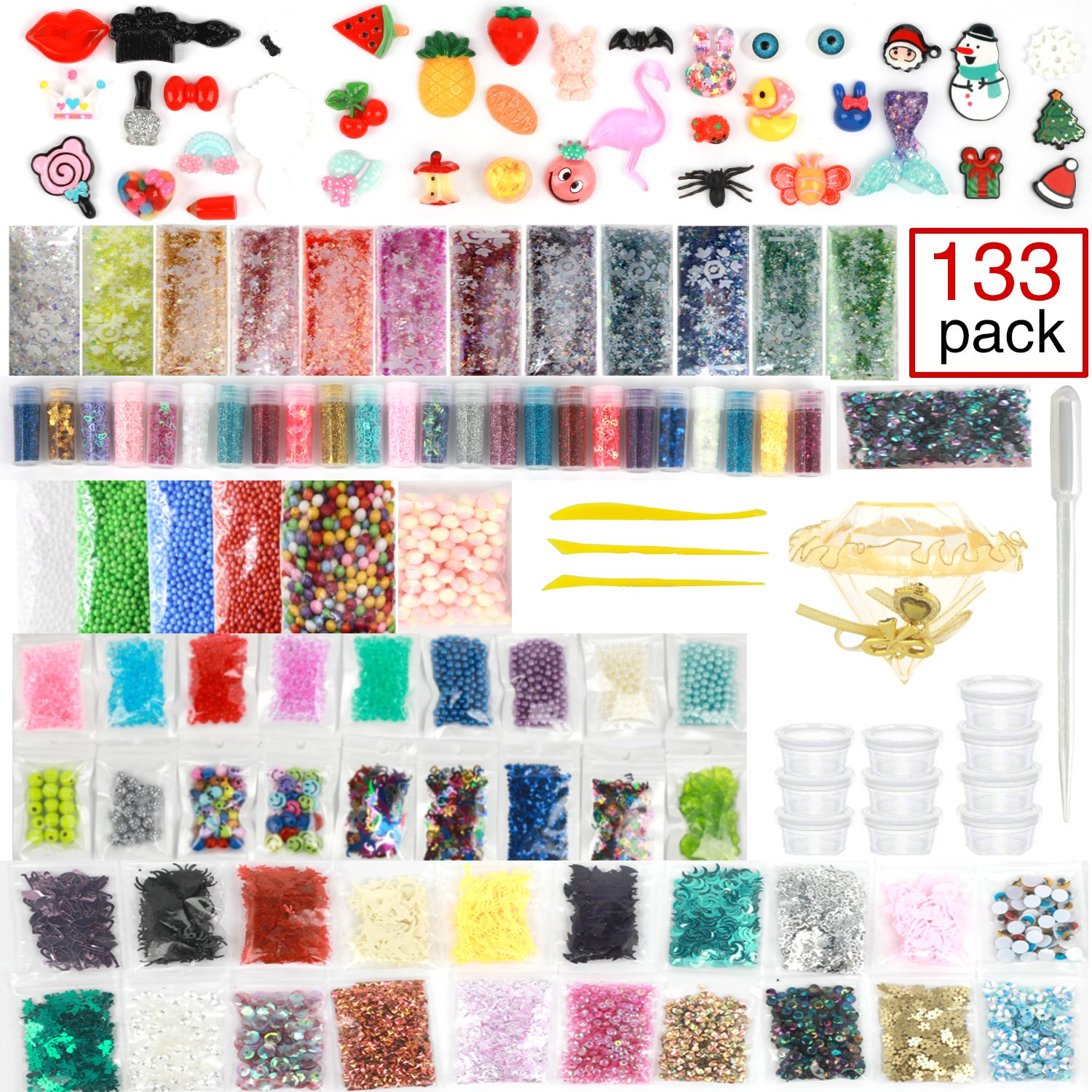 Slime Supplies kit, 133 Pack Slime Kits Include Fishbowl Beads, Pearl, Floam Beads, Glitter Jars, Confetti, Slime Charms, Slime Tools, Slime Containers, DIY Art Craft for Homemade Slime