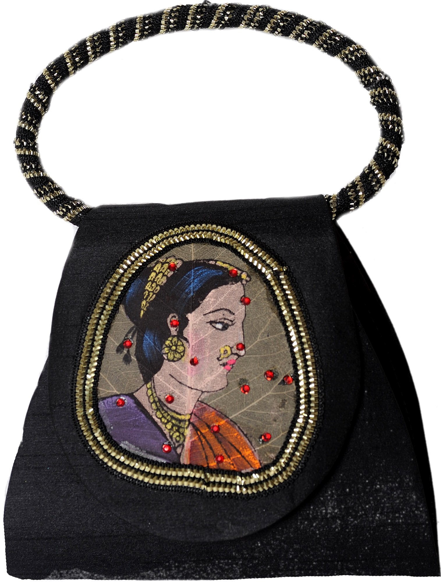 Exotic India Bracelet Bag with Beadwork and Painted Lady Figure on Fig Leaf - Color BlackColor One Size fits most