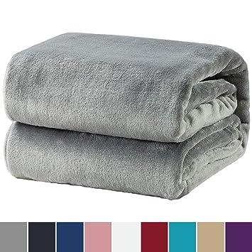Flauschige Kuscheldecke 130x180cm grau Tagesdecke Sofa Couch Decke Geschenkidee