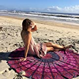 Handicrunch Indian Mandala Round Roundie Beach Throw Tapestry Hippy Boho Gypsy Cotton Tablecloth Beach Towel