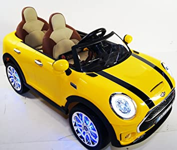 mini cooper 2 seats style ride on toy car for kids rideonecar 12 volts remote