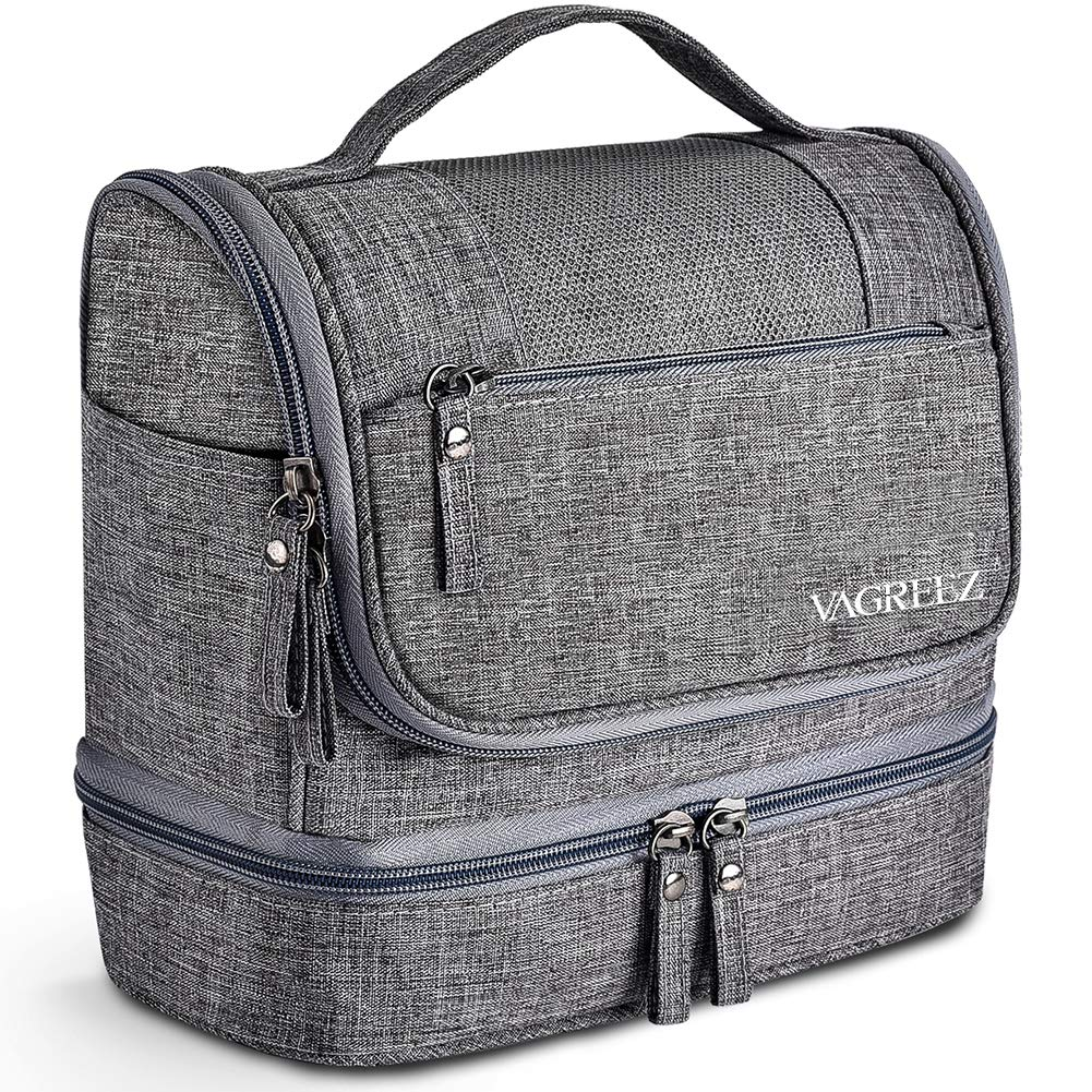 Toiletry Bag, VAGREEZ Upgraded Hanging Travel Toiletry Organizer Kit with Heavy-duty Zippers Waterproof Comestic Bag Dop Kit for Men or Women (Light Grey) by VAGREEZ