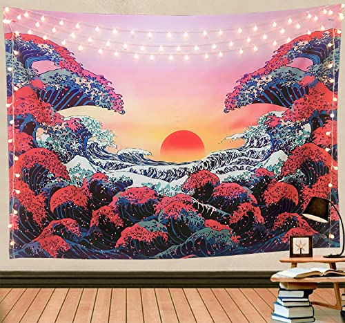 Wekymuu Wave Tapestry Trippy Tapestry Sunset Tapestry Wall Hanging Wave Ocean Tapestry Japanese Tapestry 3D Great Wave Tapestry for Bedroom Sunset70.8 x 91