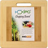 Hokipo Square Bamboo Wooden Chopping Cutting Board With Finger Hole & Juice Groove, 30 X 30 Cm, 1 Piece