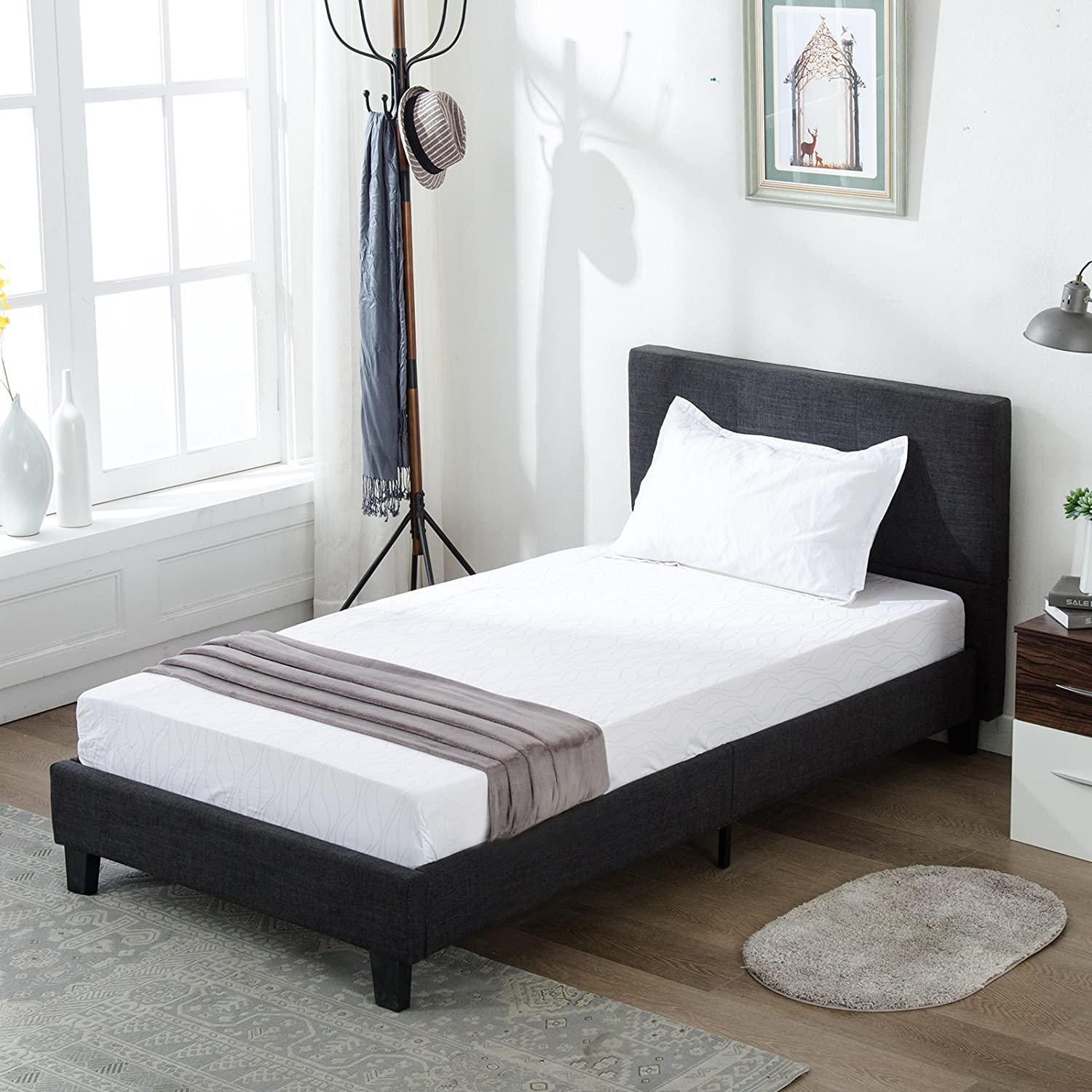 Mecor Upholstered Linen Twin Platform Bed Metal Frame with Wood Slat Support,Square Stitched Headboard,Black Twin Size
