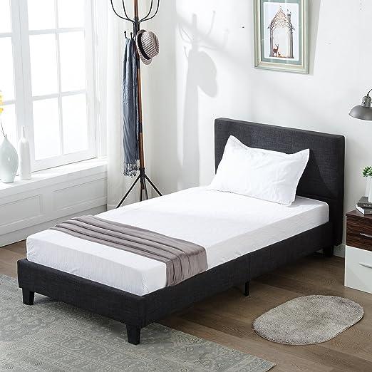 Amazon Com Mecor Upholstered Linen Twin Platform Bed Metal Frame