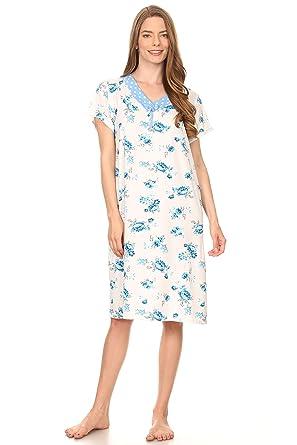 b8db2addcc65 Lati Fashion 801 Women Pajamas Night Gown Sleepwear Night Shirt (Blue