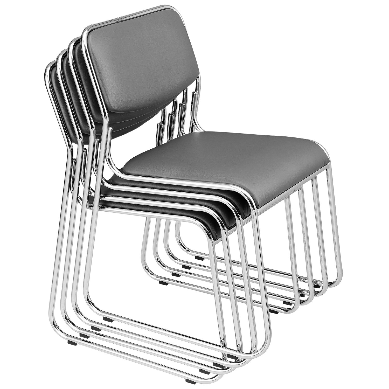 [Pro.Tec] 4X Besucherstühle (Grau - Gepolstert)(im Sparpaket) Konferenzstuhl Stuhl   Bürostuhl Stuhl   Wartezimmer - Stuhl