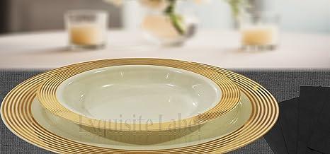 u0026quot;Exquisite Labelu0026quot; Cream with Gold Heavyweight Plastic Elegant Disposable Plates Wedding Party & Amazon.com: