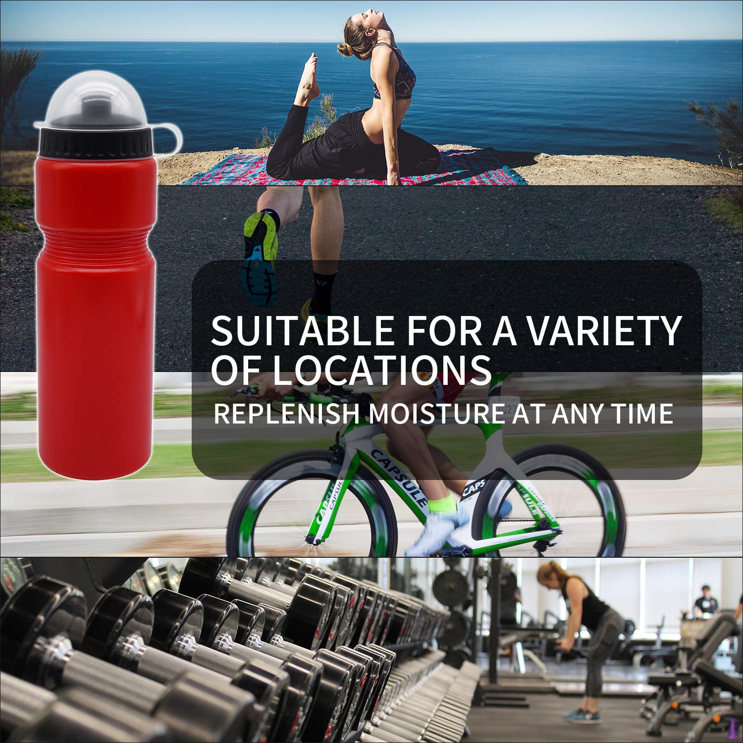 AticaSport Sports Squeeze Plastic Water Bottle 730ml with Anti Dust Cove rand Push Pull Cap 24 Pack